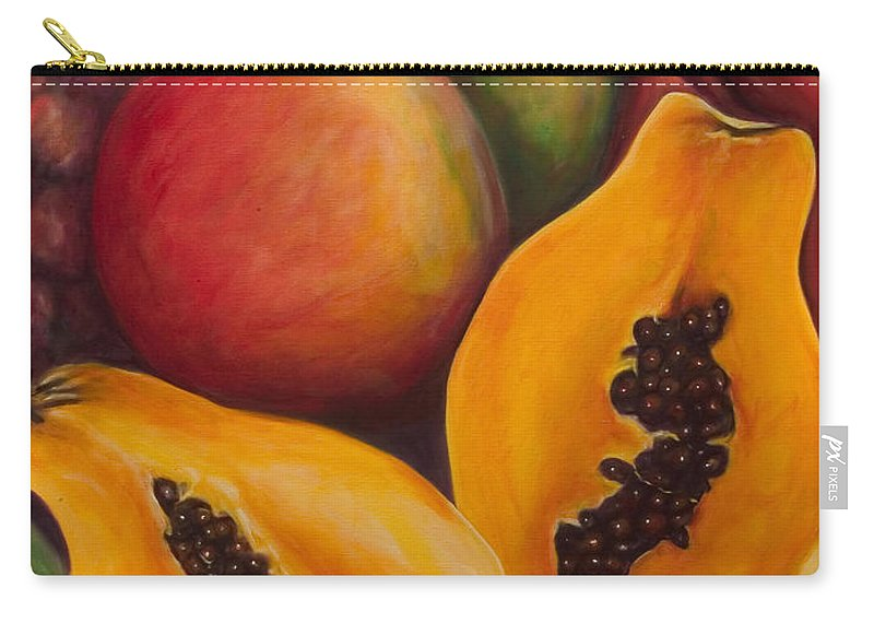 Papaya Carry-all Pouch featuring the painting Twins by Shannon Grissom