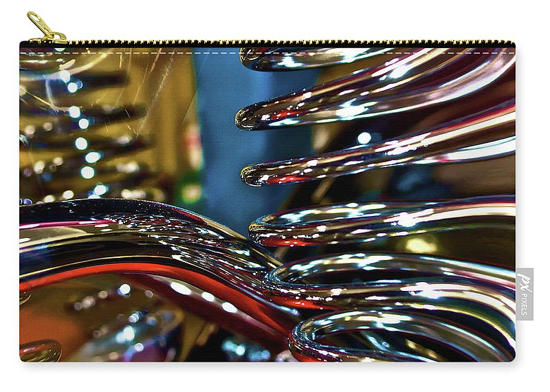Chrome Carry-all Pouch featuring the digital art Twisted Chrome by Gwyn Newcombe