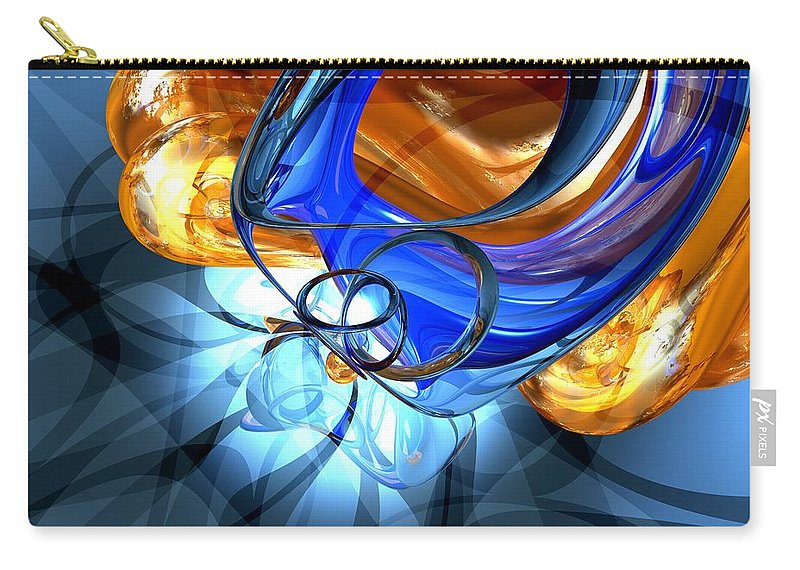 3d Carry-all Pouch featuring the digital art Twisted Spiral Abstract by Alexander Butler
