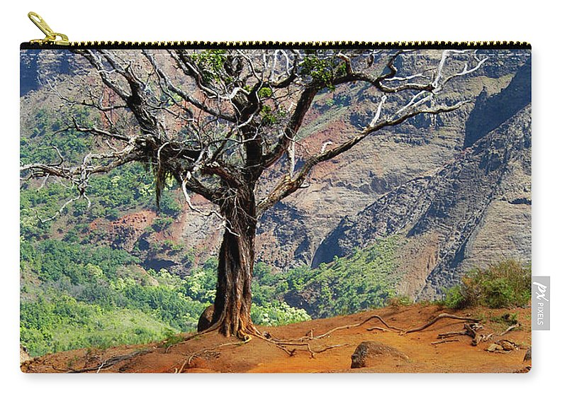 Tree Carry-all Pouch featuring the photograph Twisted Tree, Wiamea Canyon, Kawai Hawaii by Michael Bessler