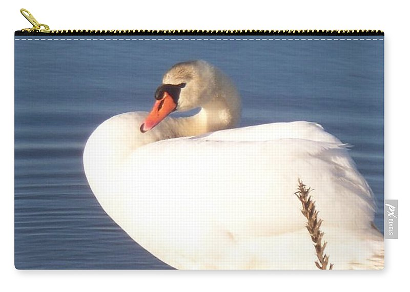 Twisted Carry-all Pouch featuring the painting Twisted White Swan by Eric Schiabor