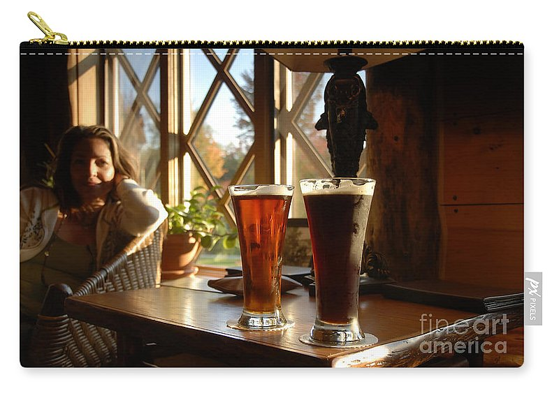 Beer Carry-all Pouch featuring the photograph Two Beers At The Lodge by David Lee Thompson