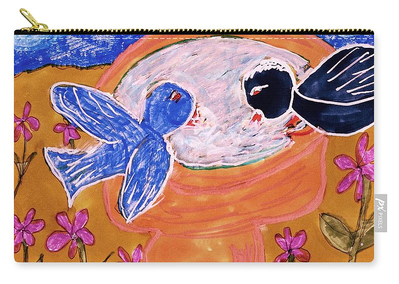 2 Birds Drinking Out Of A Bird Bath Carry-all Pouch featuring the mixed media Two Birds by Elinor Helen Rakowski