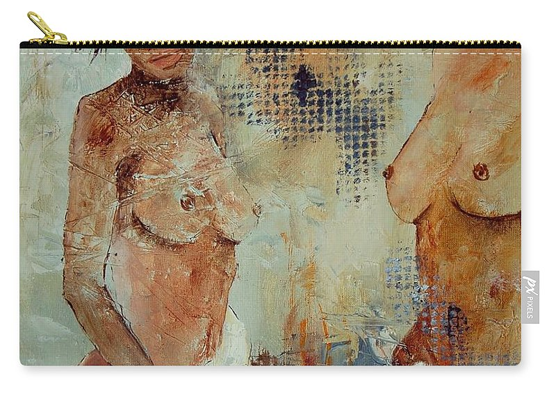 Girl Nude Carry-all Pouch featuring the painting Two Black Sisters by Pol Ledent