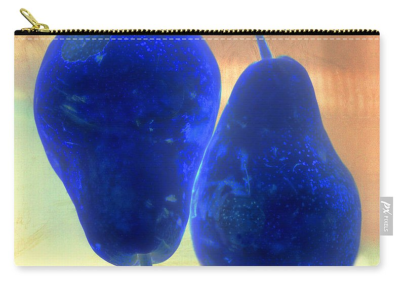 Pear Pair Fruit Skin Flesh Stem Blue Yellow Orange Carry-all Pouch featuring the photograph Two Blue Pears On Peach Side By Side by Heather Kirk
