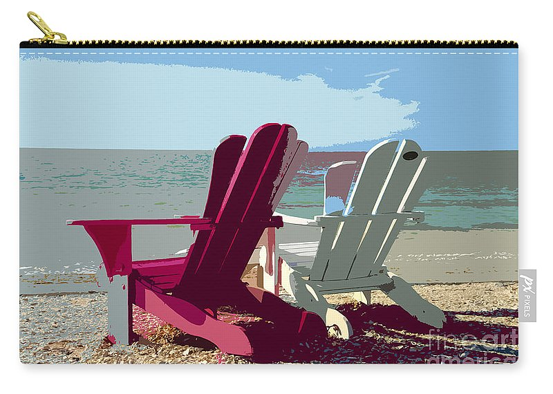 Beach Carry-all Pouch featuring the painting Two By The Shore by David Lee Thompson