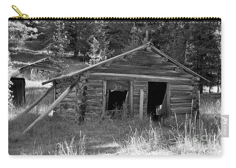 Abandoned Carry-all Pouch featuring the photograph Two Cabins One Outhouse by Richard Rizzo