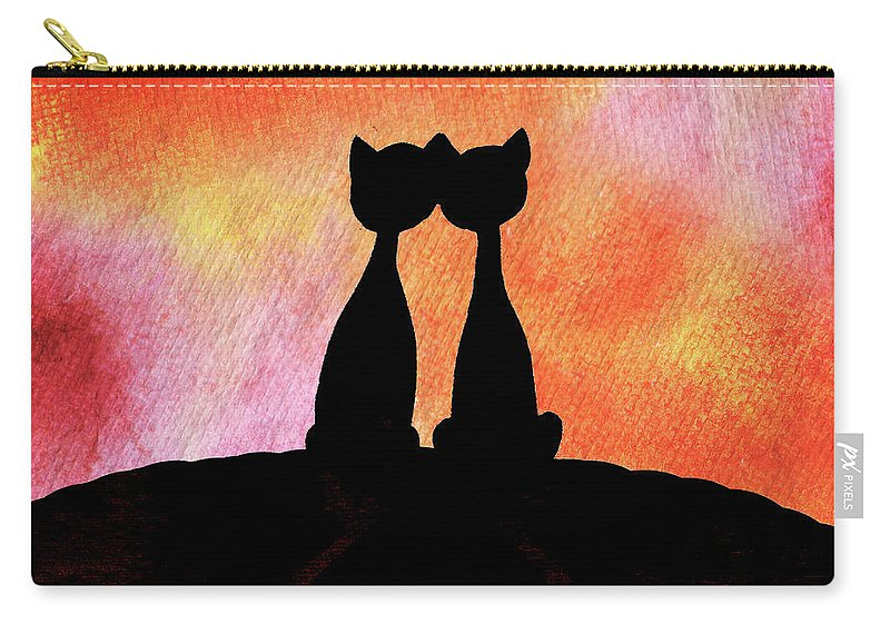 Cat Carry-all Pouch featuring the painting Two Cats And Sunset Silhouette by Irina Sztukowski