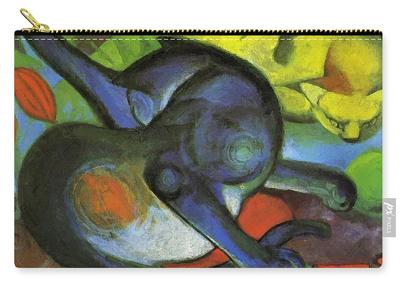 Two Carry-all Pouch featuring the painting Two Cats Blue And Yellow 1912 by Marc Franz