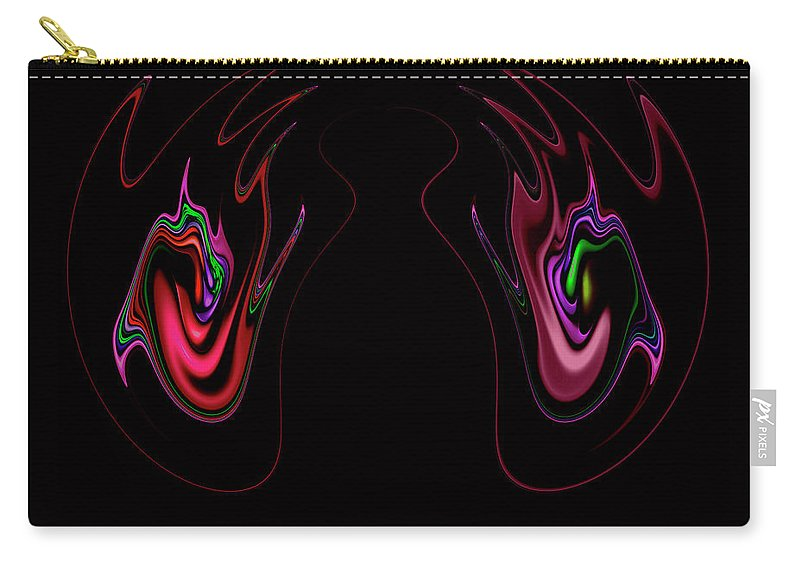 Claw Claws Mouth Tongue Twister Abstract Fear Hand Hands Finger Fingers Dark Black Carry-all Pouch featuring the digital art Two Claws by Steve K
