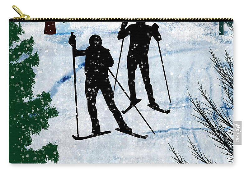 Ski Carry-all Pouch featuring the painting Two Cross Country Skiers In Snow Squall by Elaine Plesser