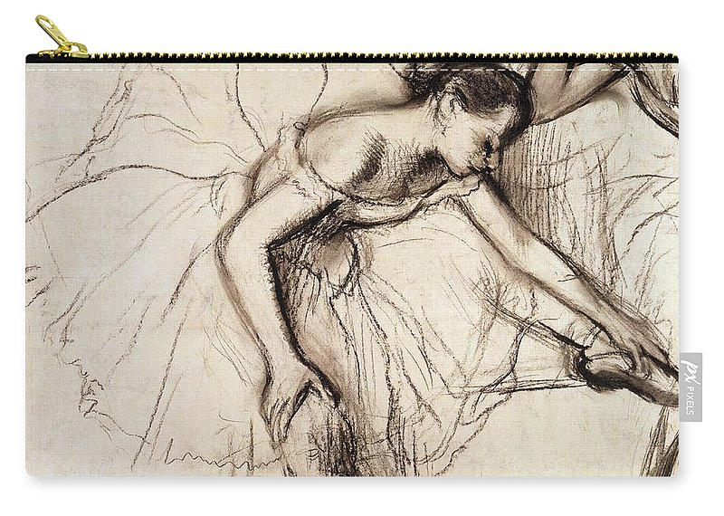 Degas Carry-all Pouch featuring the drawing Two Dancers Resting by Edgar Degas