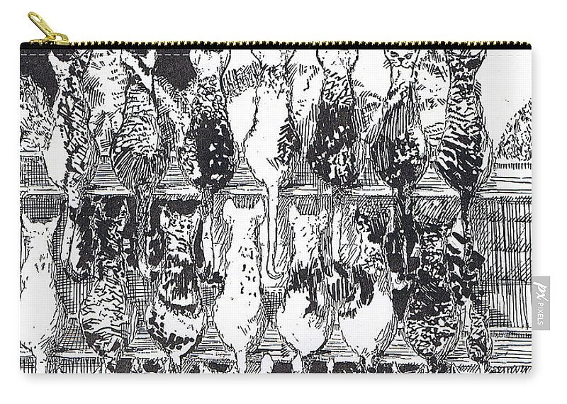 Cats Carry-all Pouch featuring the drawing Two Dozen And One Cats by Seth Weaver