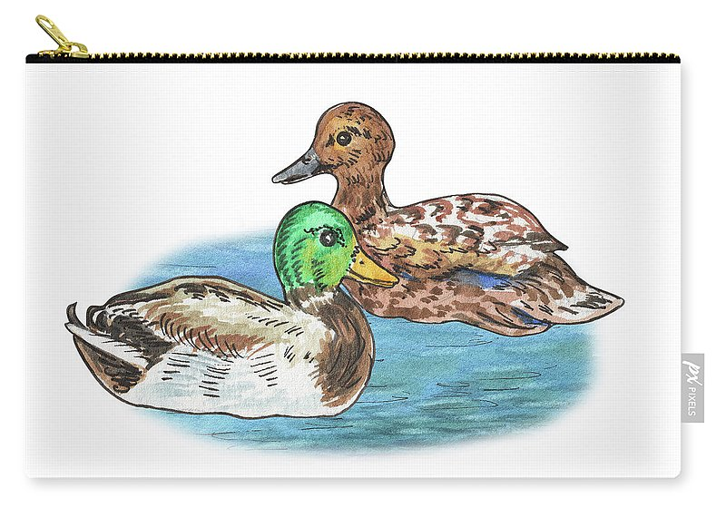 Two Ducks Carry-all Pouch featuring the painting Two Ducks by Irina Sztukowski