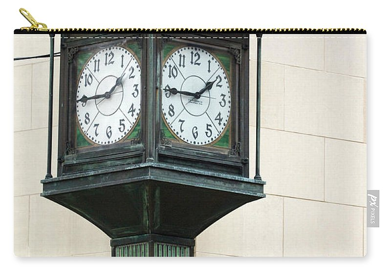 Time Clock Architecture Green Urban City Carry-all Pouch featuring the photograph Two Faced Time by Jill Reger