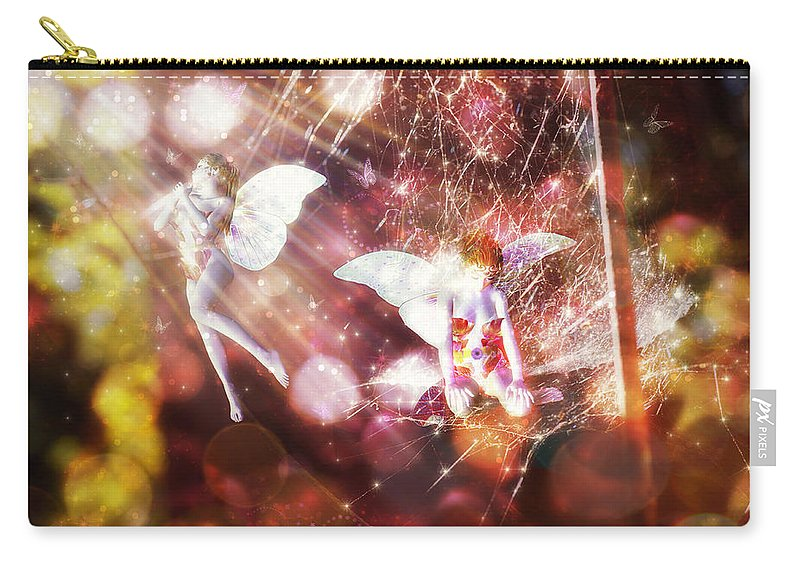 Two Fairies Carry-all Pouch featuring the digital art Two Fairies In The Web by Lilia D