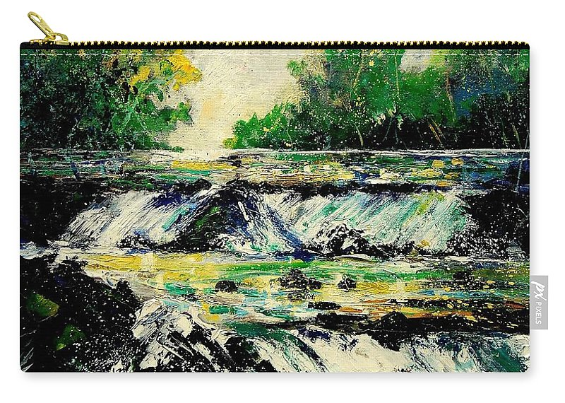 River Carry-all Pouch featuring the painting Two Falls by Pol Ledent