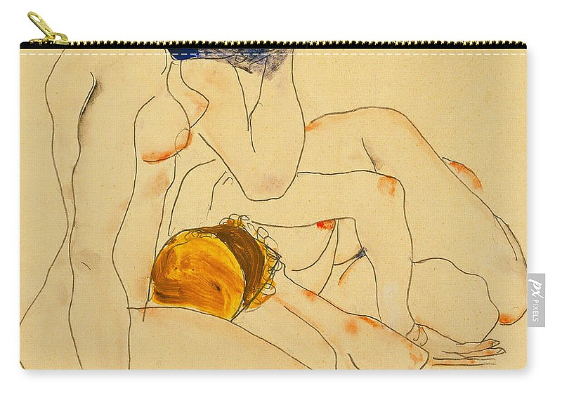 Egon Schiele Carry-all Pouch featuring the painting Two Friends by Egon Schiele