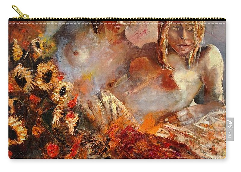 Girl Nude Carry-all Pouch featuring the painting Two Friends by Pol Ledent