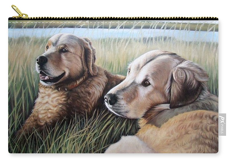 Dogs Carry-all Pouch featuring the painting Two Golden Retriever by Nicole Zeug