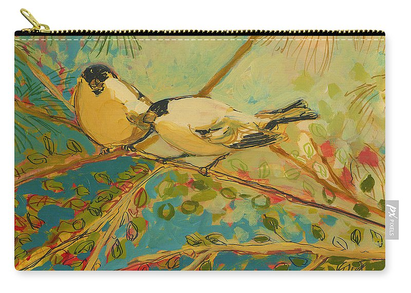 Bird Carry-all Pouch featuring the painting Two Goldfinch Found by Jennifer Lommers