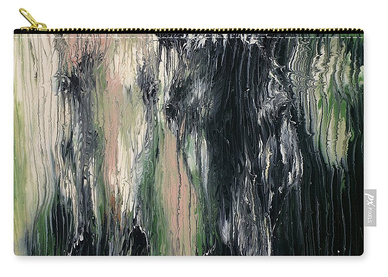 Abstract Carry-all Pouch featuring the painting Two Horses In Greens by Scott Lindner