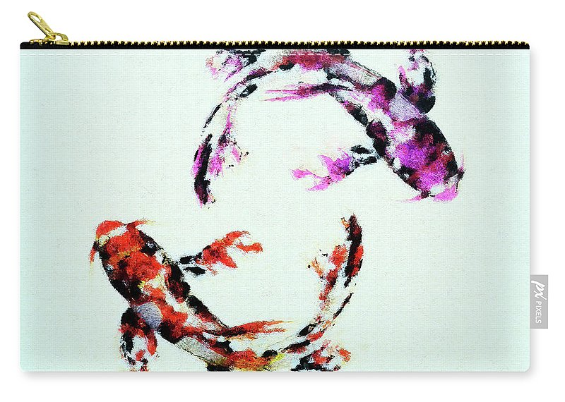 Fish Carry-all Pouch featuring the mixed media Two Koi by Anton Kalinichev