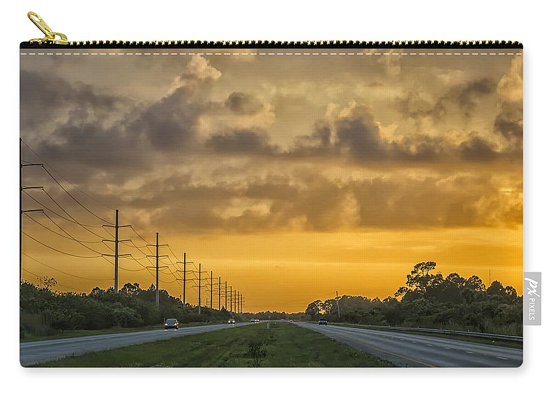 Yellow Carry-all Pouch featuring the photograph Two Lane Sunset by Louise Hill