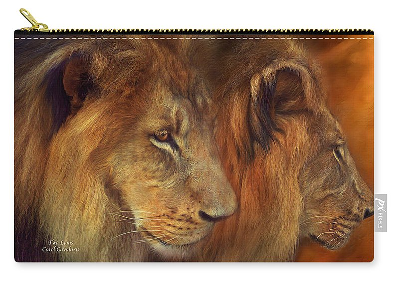 Carol Cavalaris Carry-all Pouch featuring the mixed media Two Lions by Carol Cavalaris