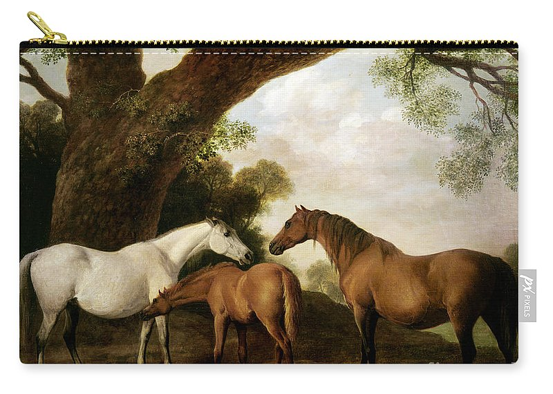 Two Carry-all Pouch featuring the painting Two Mares and a Foal by George Stubbs