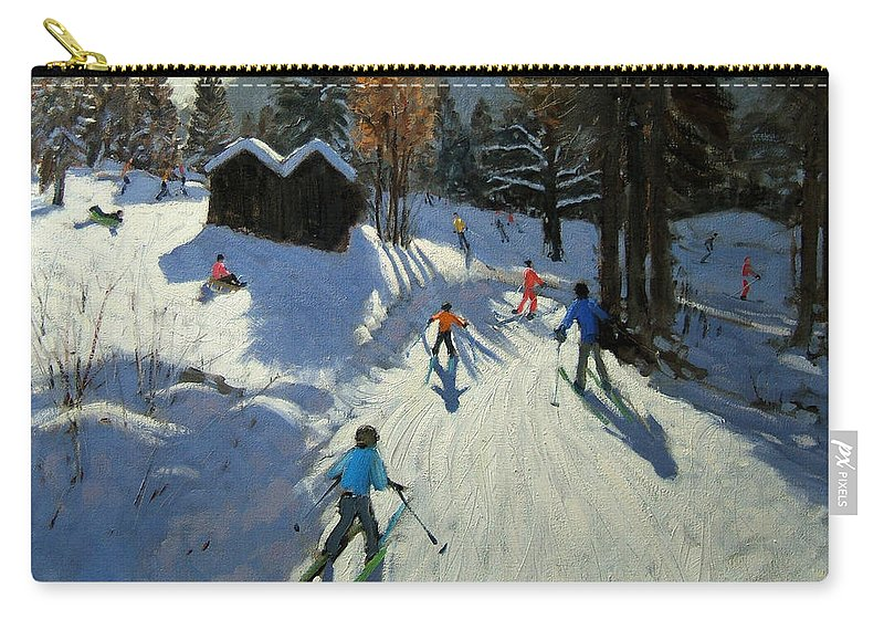 Sledging Carry-all Pouch featuring the painting Two Mountain Huts by Andrew Macara