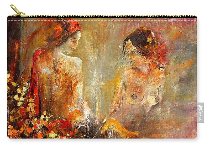 Girl Nude Carry-all Pouch featuring the painting Two Nudes by Pol Ledent