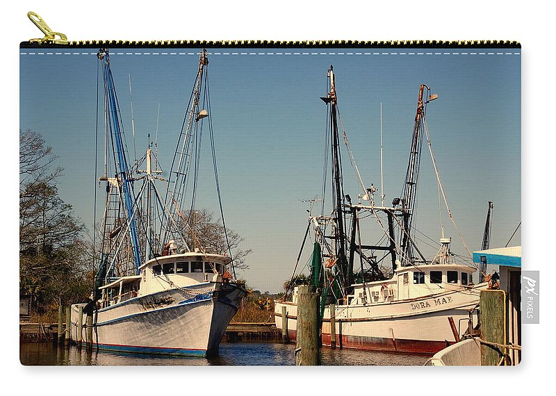 Two Old Shrimp Boats Carry-all Pouch featuring the photograph Two Old Shrimpboats by Susanne Van Hulst