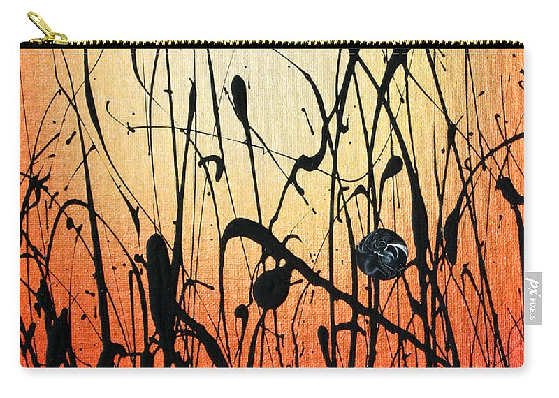 Orange Carry-all Pouch featuring the painting Two Orbs Meet In A Field At Sunset by Ric Bascobert