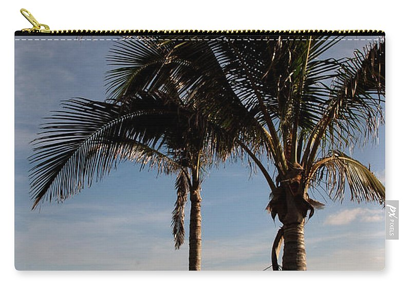 Palms Carry-all Pouch featuring the photograph Two Palms And The Gulf Of Mexico by Susanne Van Hulst