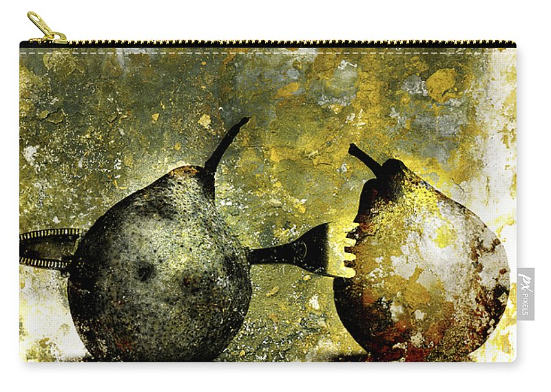 Aging Process Carry-all Pouch featuring the photograph Two Pears Pierced By A Fork. by Bernard Jaubert