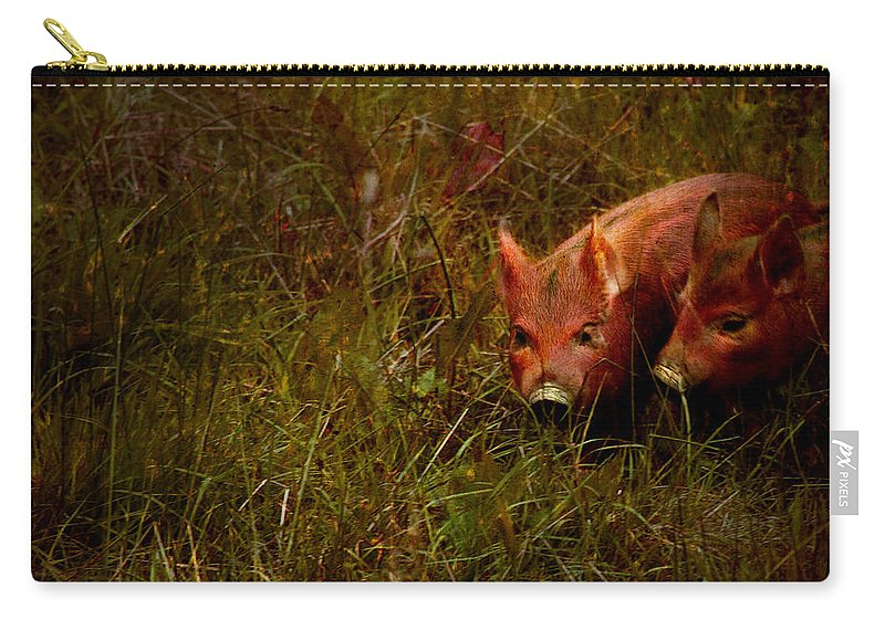 Piglets Carry-all Pouch featuring the photograph Two Piglets by Angel Tarantella