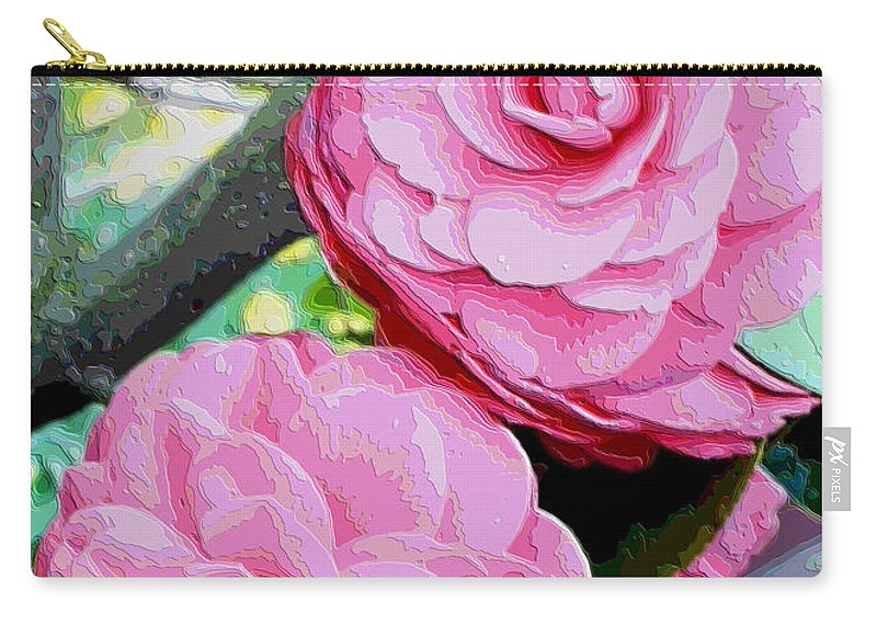 Camellia Carry-all Pouch featuring the photograph Two Pink Camellias - Digital Art by Carol Groenen