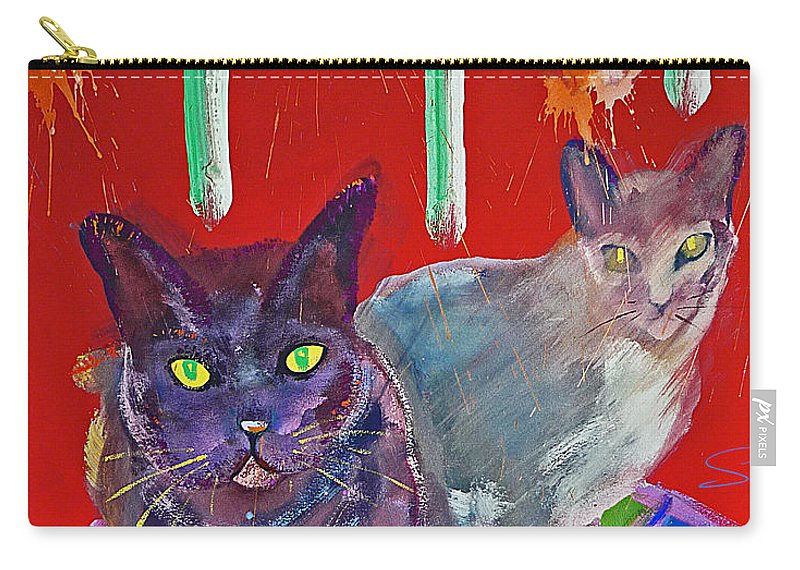 Cat Carry-all Pouch featuring the painting Two Posh Cats by Charles Stuart