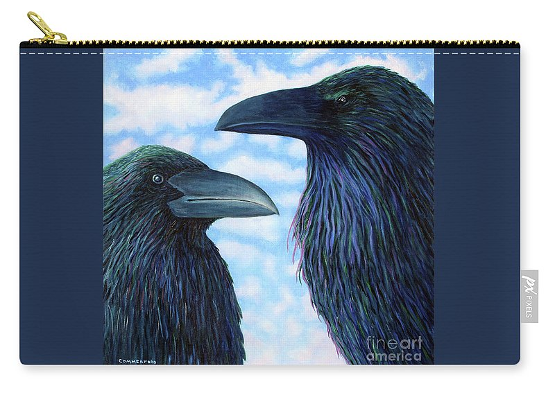 Raven Carry-all Pouch featuring the painting Two Ravens by Brian Commerford