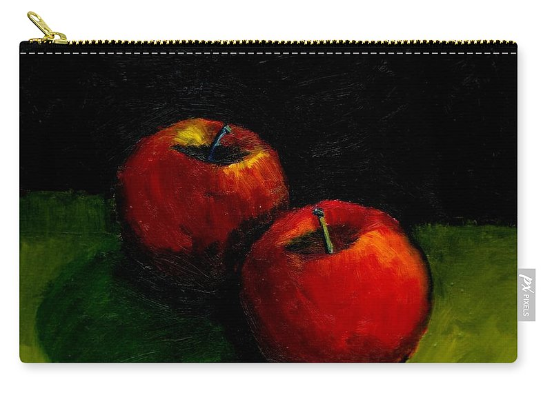 Red Carry-all Pouch featuring the painting Two Red Apples Still Life by Michelle Calkins