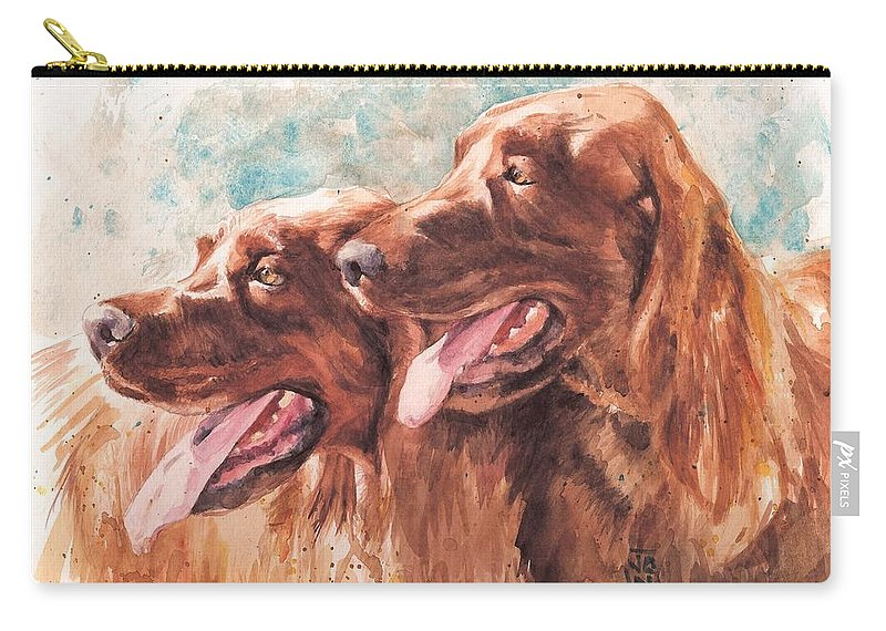 Irish Setter Dog Carry-all Pouch featuring the painting Two Redheads by Debra Jones