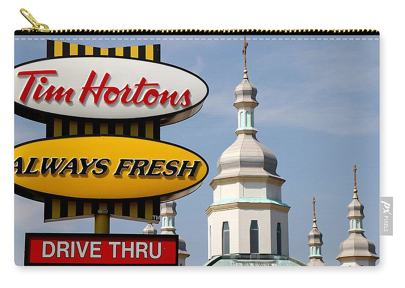 Tim Hortons Carry-all Pouch featuring the photograph Two Religions by Andrew Fare