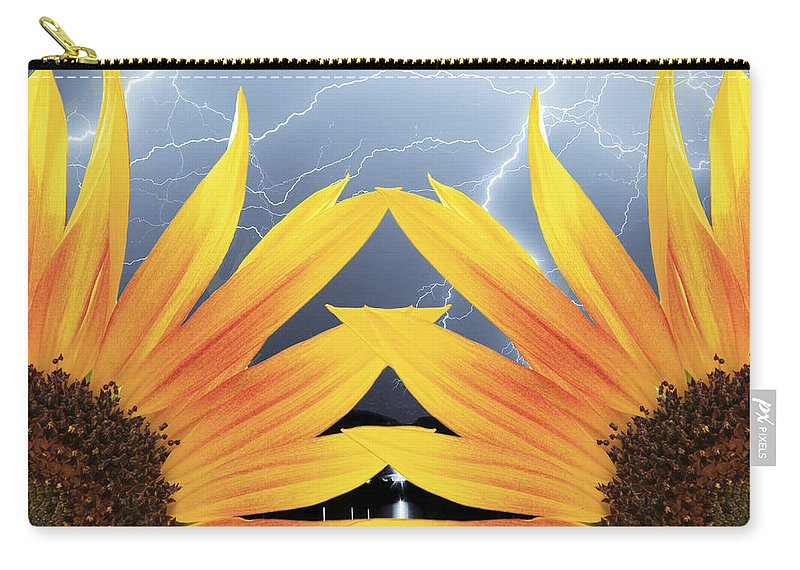 Sunflowers Carry-all Pouch featuring the photograph Two Sunflower Lightning Storm by James BO Insogna