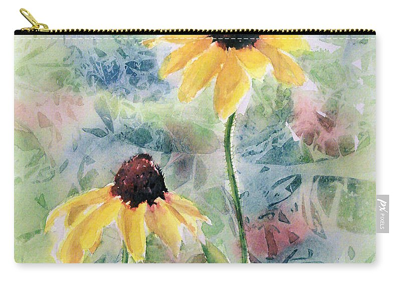 Watercolor Carry-all Pouch featuring the painting Two Sunflowers by Debbie Lewis