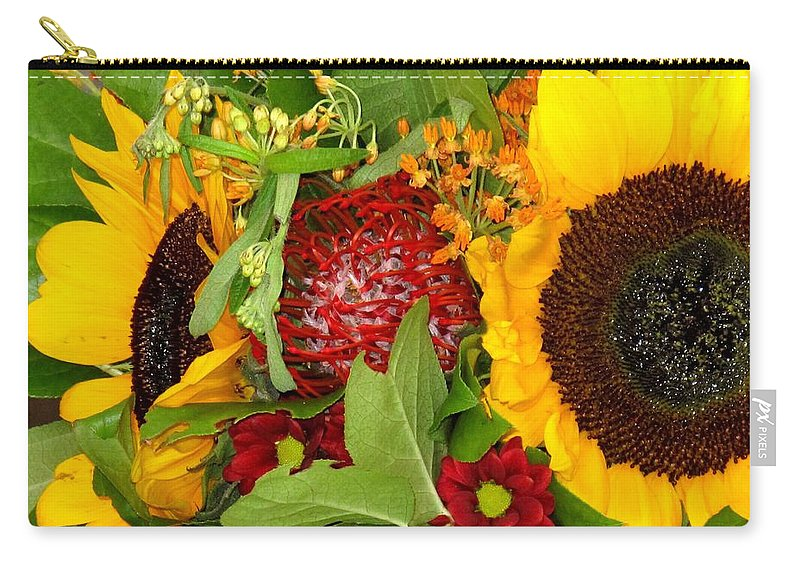 Sunflower Carry-all Pouch featuring the photograph Two Suns by Ian MacDonald