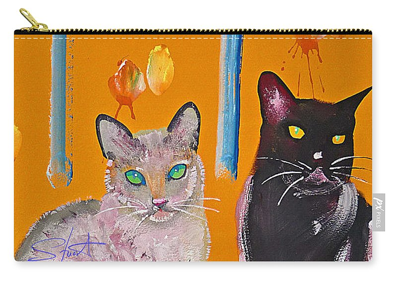 Cat Carry-all Pouch featuring the painting Two Superior Cats With Wild Wallpaper by Charles Stuart
