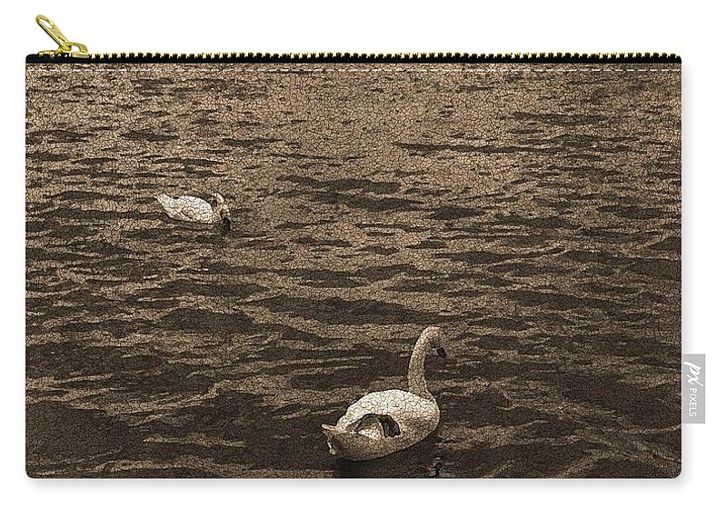 Romance Carry-all Pouch featuring the digital art Two Swans by Emmanuel Varnas