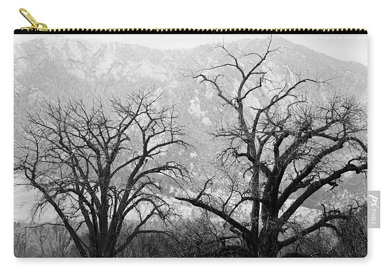 B&w Carry-all Pouch featuring the photograph Two Trees Flatirons Boulder Colorado by James BO Insogna