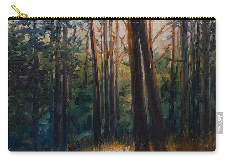 Trees Carry-all Pouch featuring the painting Two Trees by Rick Nederlof